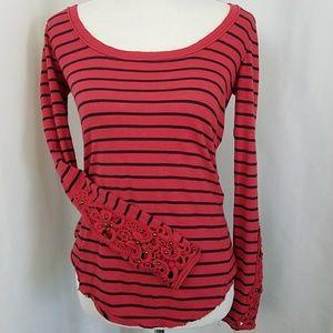 Free People XS Crochet Long Sleeve Top Red Stripe